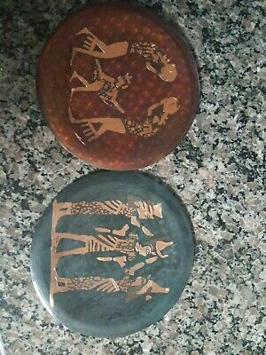 Ancient Egyptian Vintage brass wall art  red and other black lot of 2 hand made