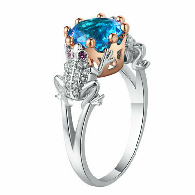 Women Cute Frog Blue Crystal Rhinestone Engagement Wedding Ring Jewelry Gift For