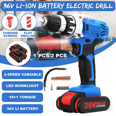 36V Electric Cordless Drill Screwdriver LED Two-Speed 2 Li-Ion Battery 🔥