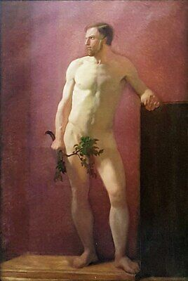 """perfect oil painting handpainted on canvas"""" a young man with a branch """"@15523"""
