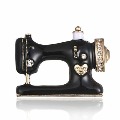 Vintage Enamel Sewing Machine Brooch Pin Crystal Rhinestone Costume Jewelry Gift