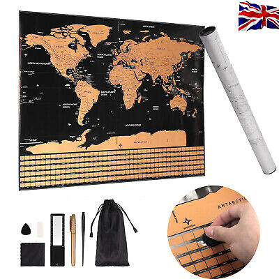 Scratch Off World Map Deluxe Edition Travel Log Journal Poster Wall Decoration