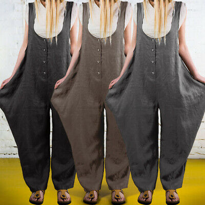 Womens Dungarees Strap Overalls Harem Trousers Baggy Casual Sleeveless Jumpsuit