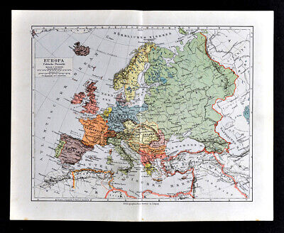 1900 Meyers Map Europe Germany Austria Hungary France Spain Italy Greece Sweden