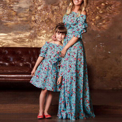 Beauty Women Dress Daughter Baby Birthday Matching Mother Holiday Long Family