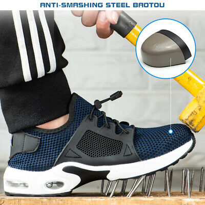 AtreGo Men's Steel Toe Cap Trainers Work Safety Boots Mesh Lightweight Shoes