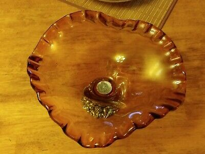 VINTAGE MURANO  HAND BLOWN GLASS  by MASTERS - BOWL FOOTED METAL BASE