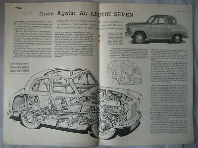 1951 Austin Seven Motor magazine article including cutaway drawing