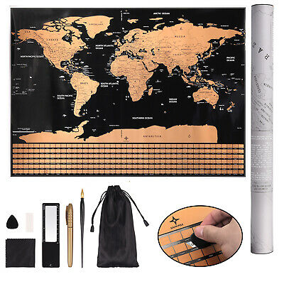 Scratch Off World Map Poster Decor Atlas with Tools Large Premium 32.67x23.42in