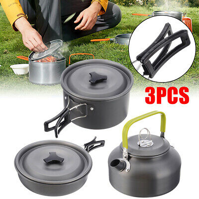 3X Outdoor Cooking Camping Kettle Pan Pot Cook Set Ideal For Camp Fishing Travel