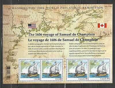 pk45202:Stamps-Canada #2156 Voyage of Champlain Joint USA/Canada Sheet - MNH