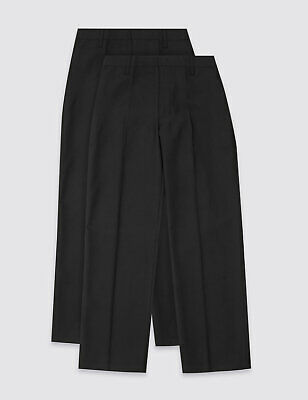 NEW BOYS EX M & S Regular Leg BLACK SCHOOL TROUSERS 3-16+ yrs S R L UNIFORM TB10