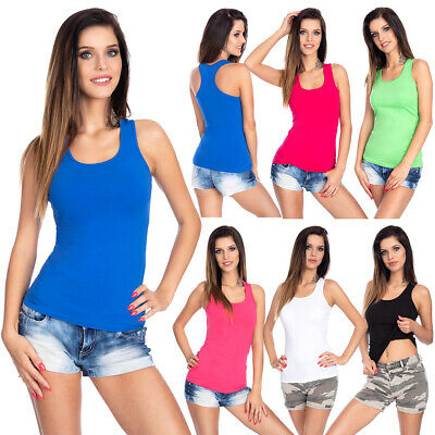 Womens Basic Tank Top Sleevless Cotton Tunic Boxer Activewear One Size FS3562