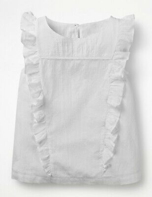 NEW RRP £30 Mini Boden Lace Detail Woven Top – White (U8-5)