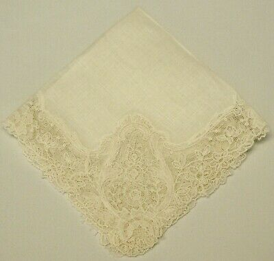 "Vintage Point Lace WEDDING HANKIE w/Embroidered Netting. LINEN. 9.5"" Square"
