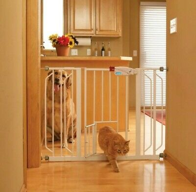 "Carlson Extra Wide Walk Through Gate with Pet Door 34""-48"" wide 30""high"