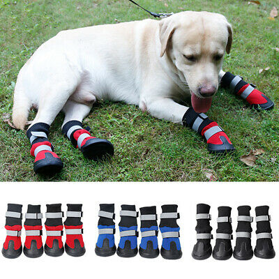 GT- KQ_ 4Pcs Pet Non-slip Shoes Winter Dog Cat Boots Warm Puppy Booties Footwear