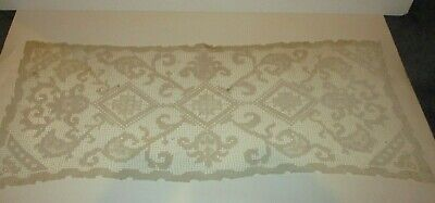 "Vintage Ivory Color Lace Doily Table Runner 33""X13"" Beautiful Intricate Design"