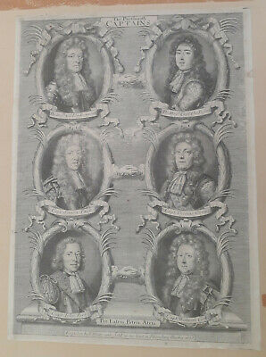RARE ORIGINAL 17thC. ENGRAVING. THE PORTSMOUTH CAPTAINS by ROBERT WHITE, 1688.