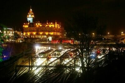 Photo  Edinburgh Waverley Railway Station Seen At Night From The Mound To The So