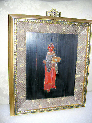 #1 Of 2  Antique Chinese Stone Carved  Inlaid Ladies Framed Qing