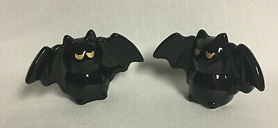 CERAMIC SALT AND PEPPER SHAKERS BLACK BATS by ARLINGTON ~NEW~  #21261