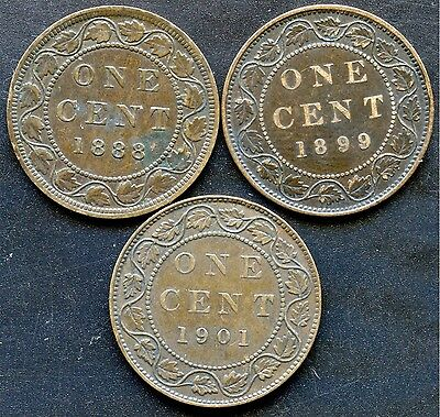 1888 1899 & 1901 Canada Large Cent Coins