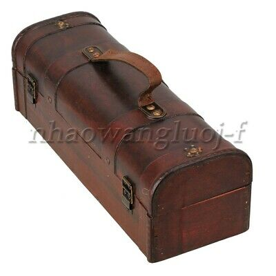 Premium Wine Box Vintage Treasure Chest Wine Box Wooden Holds 1 Bottle for Gift