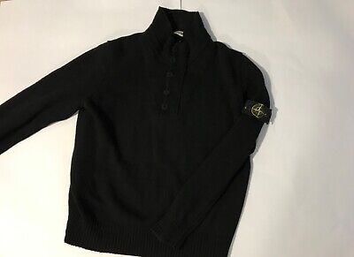 Vtg Stone Island Black President Knitted Wool Jumper Retro Xl-L