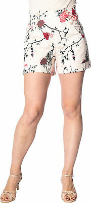 Banned PEACOCK BAROQUE Blumen FLORAL High Waisted SHORTS Creme Rockabilly
