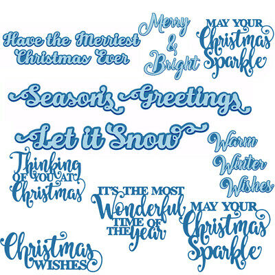 Holiday Winter Christmas Phrases Metal Cutting Dies Stencil Scrapbook Embossing