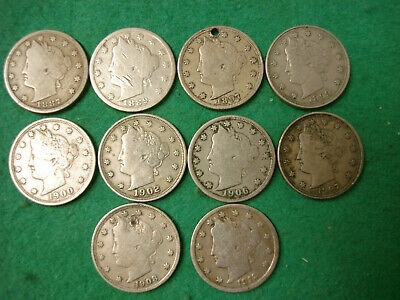 Group of 10 Liberty head Nickels 1887 - 1912 collectable to EF FREEPOST [JL-61]