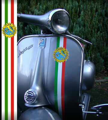"Aufkleber Set ""Italian Stripes Vespa Club d Italia""  Beinschild  Vespa GS / PX"