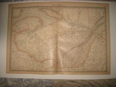 Vintage Antique 1883 Quebec Montreal Canada Railroad Map Detailed Fine Rare Nr