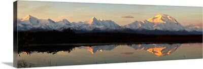 """Alpenglow On Mt. McKinley Reflected In Tundra Pond, Denali National Park"" Ca"