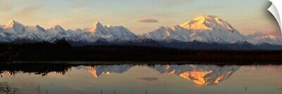 """Alpenglow On Mt. McKinley Reflected In Tundra Pond, Denali National Park"" Wa"