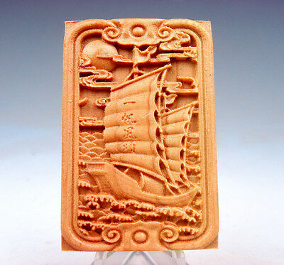 Wooden Detailed Carved Pendant Sculpture Sail Boat & Blessing Characters #081217