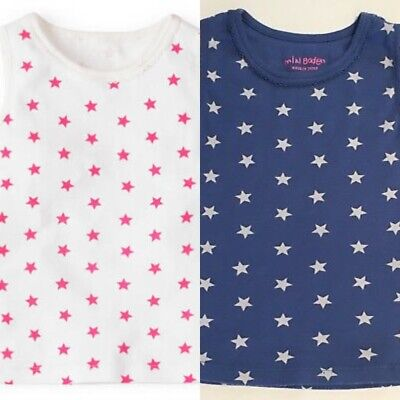 NEW RRP £25 Mini Boden  White Tank-top with Stars (BU-11)