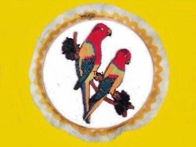"Handmade Easy Punch Embroidery Parrots 8"" Trimmed Hoop Yellow"