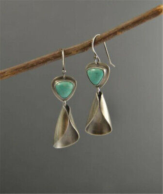 Boho Turquoise 925 Silver Dangle Drop Earrings Wedding Party Party Bridal Women
