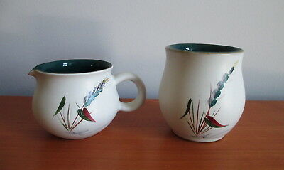 Denby Greenwheat 6 oz Creamer + Jam Jar No Lid Oven Proof Stoneware England