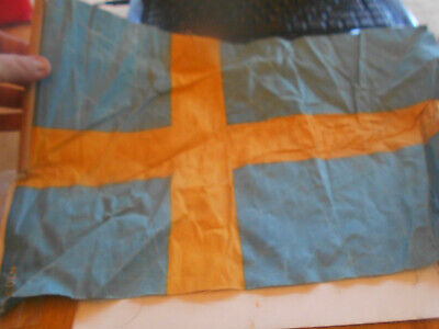 Antique Early 1900S Swedish Flag About 12 X 17.