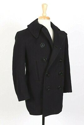 VTG 30s USN 13 Star Button Navy Blue Wool PEACOAT Pea Coat USA Mens Size 34