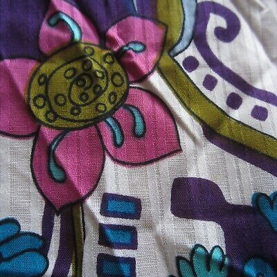47cm x 112cm Purple Pink Psychedelic Floral Vintage Cotton Sewing Fabric 1970s