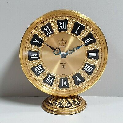 Vintage Jaeger Recital Le Coultre 8 Day Brass Desk Clock 1960s Swiss Made