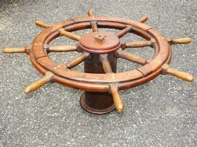 Antiques Ships Wheel Wood w/ base  SAIL BOAT SHIP Original