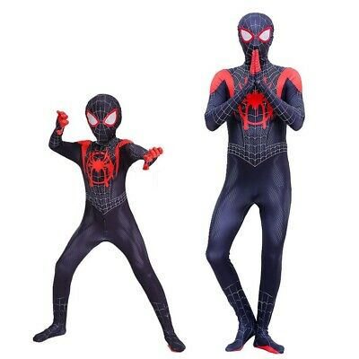 2018 Into the Spider-Verse Miles Morales Spiderman Man Jumpsuits Costume Cosplay