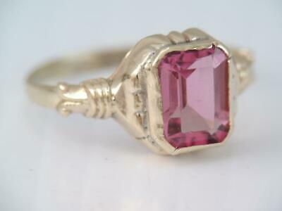Rare Antique Solid 10K Gold Ob Ostby & Barton Pink Tourmaline Stone Ring