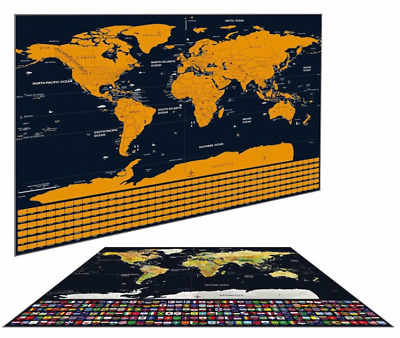 Scratch Off Journal World Map Personalized Travel Atlas Poster Country Flag Game
