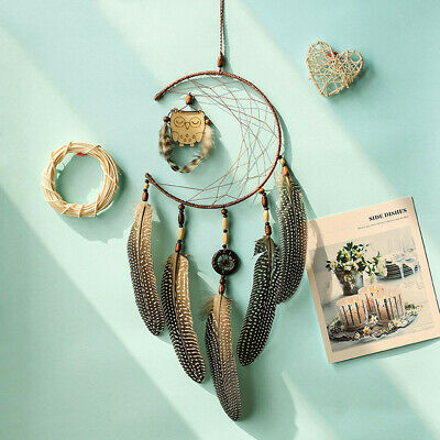 1x Dream Catcher With Feathers Wooden Owl Wall Hanging Decoration Ornament Gift